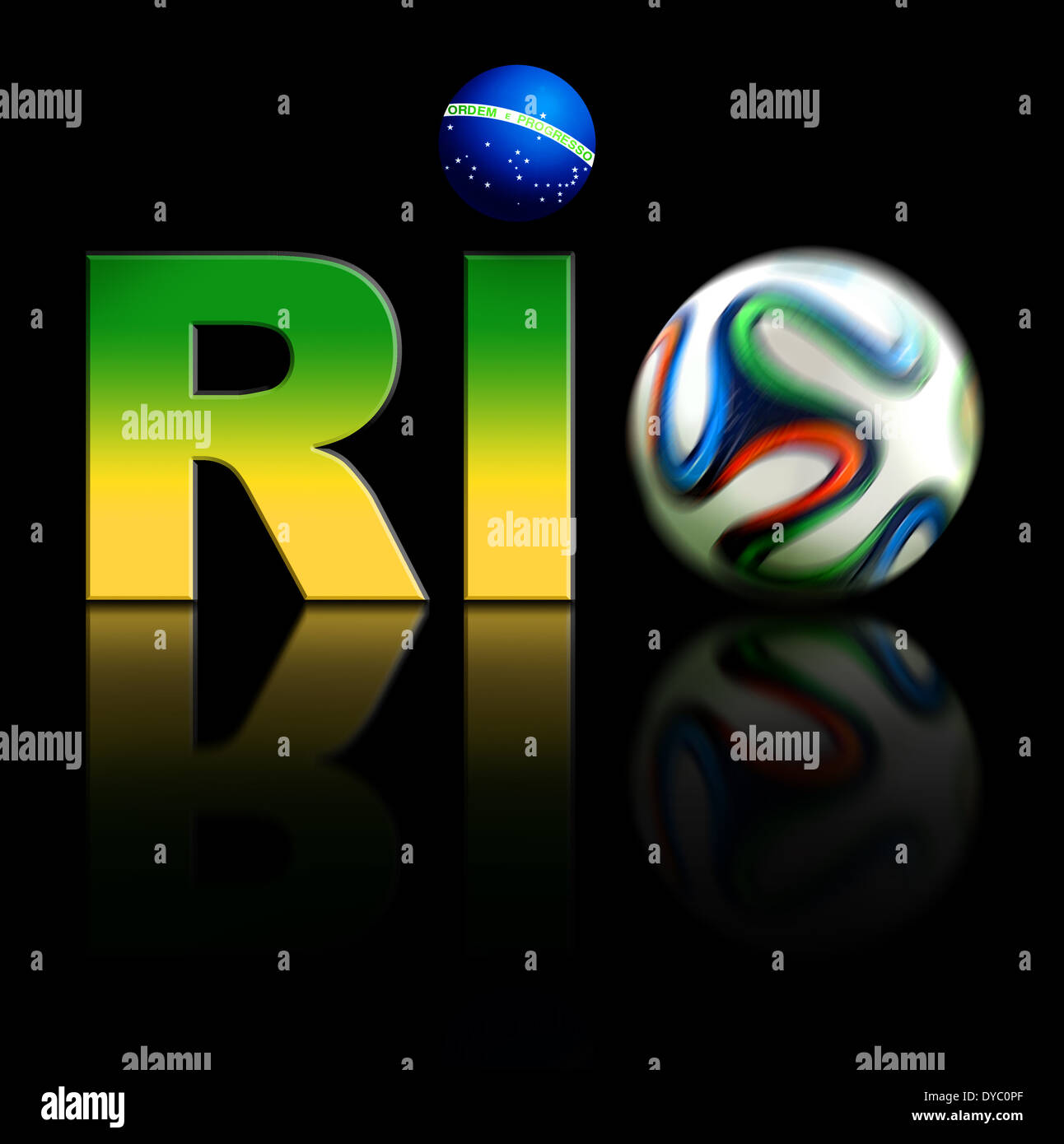 Rio World Cup 2014 Logo with Brasilian flag colours and football. Isolated on black background. - Stock Image