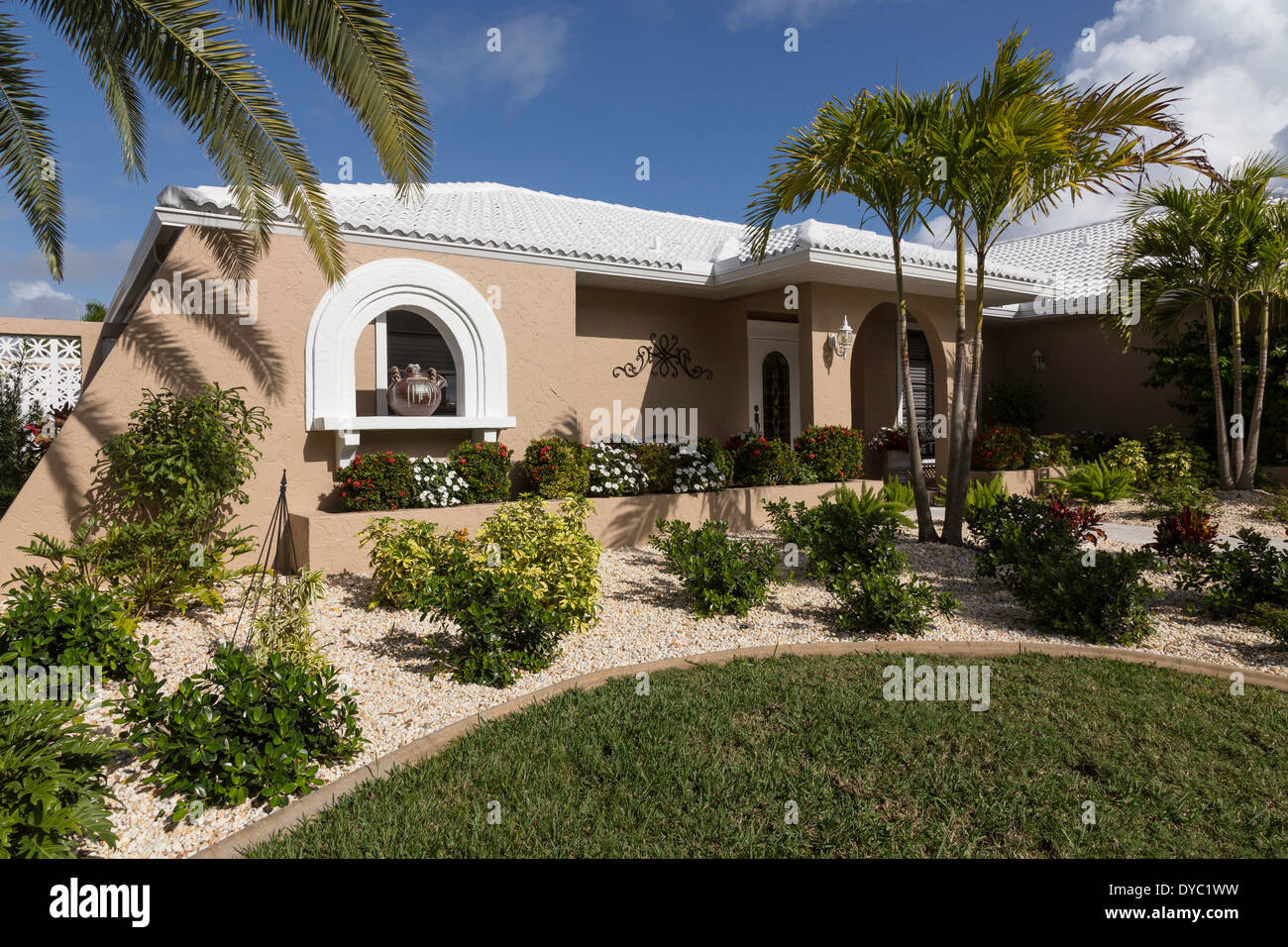 Front of Upscale Florida Suburban Home with Palm Trees, FL, USA ...