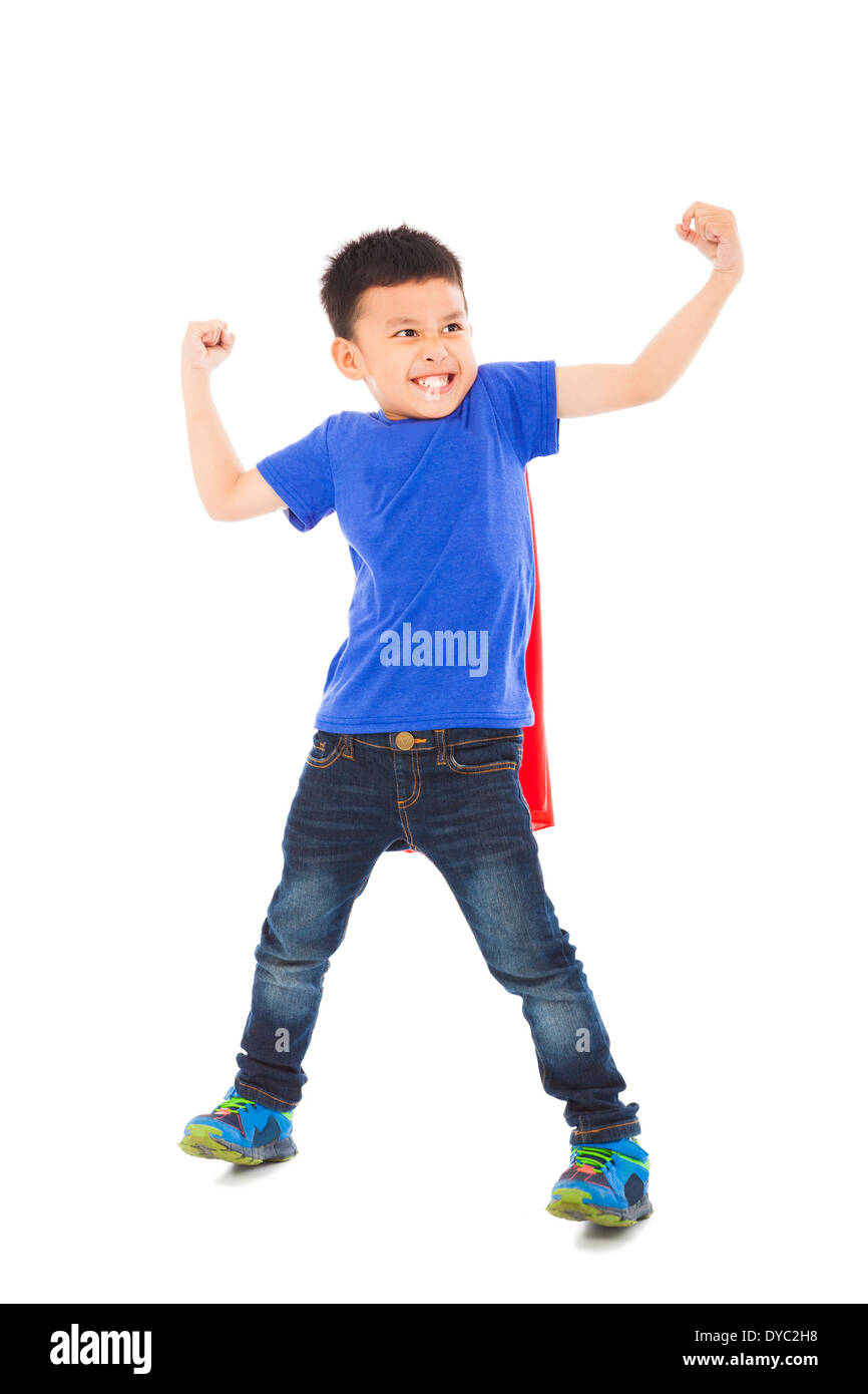 happy super kid hero imitate superman pose in studio Stock Photo ...
