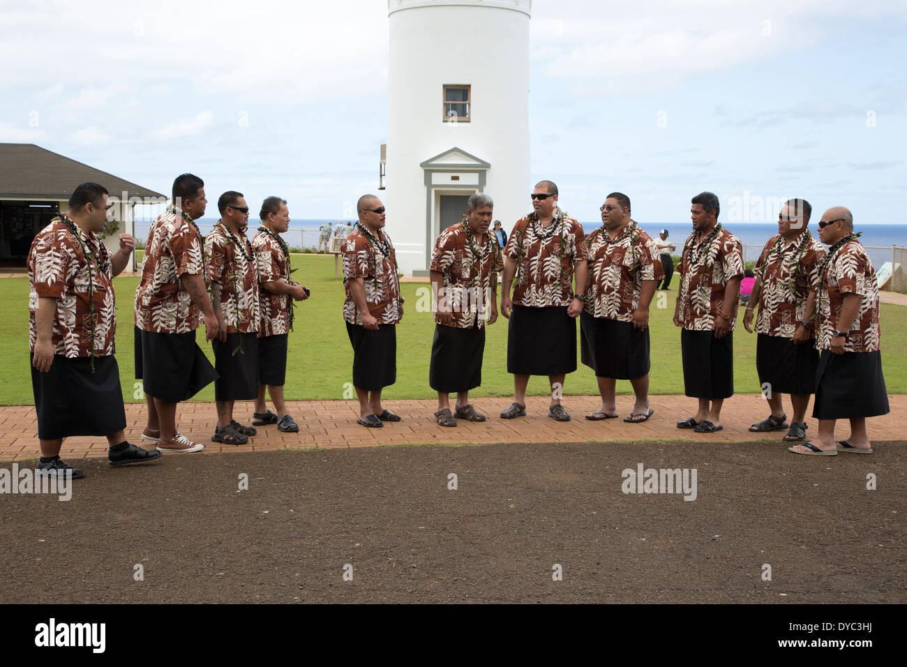 Samoan gospel singers performing at Kilauea Point Lighthouse - Stock Image
