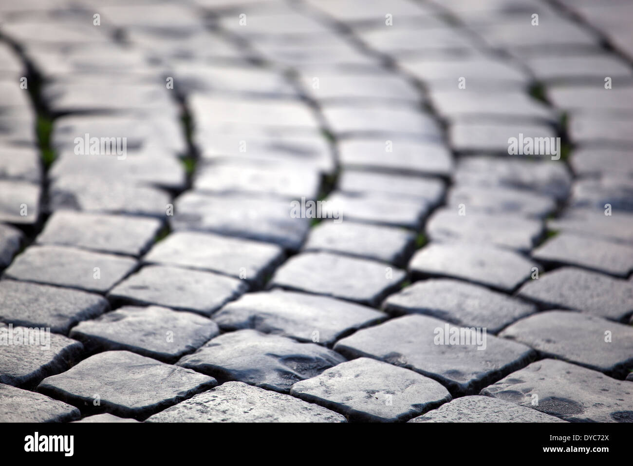 Piazza Sant Eustacchio, Cobbled Stones, Rome, Italy - Stock Image