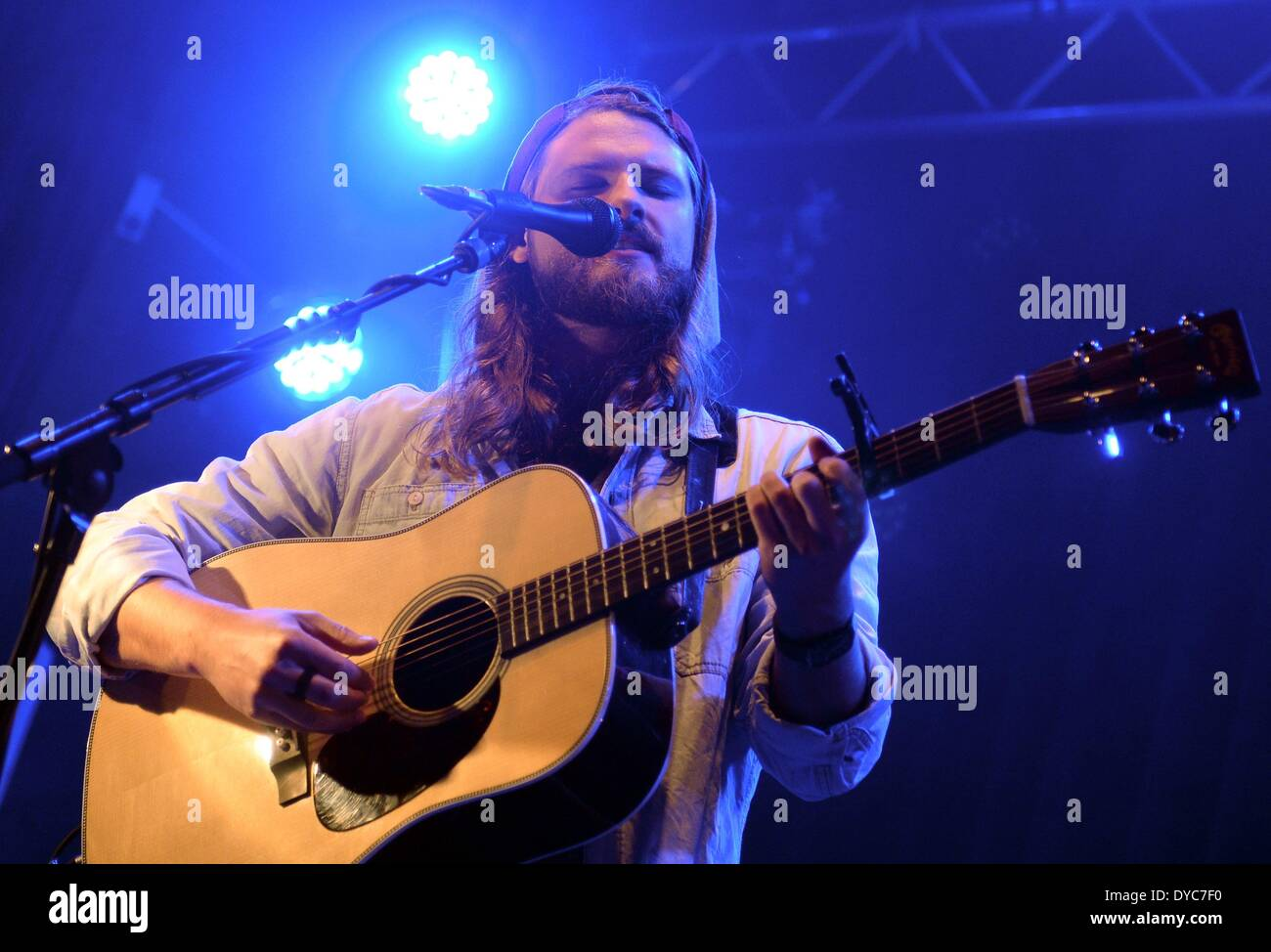 Berlin, Germany. 13th Apr, 2014. US singer Ian Hooper and Germany-based band Mighty Oaks perform in the sold-out Stock Photo