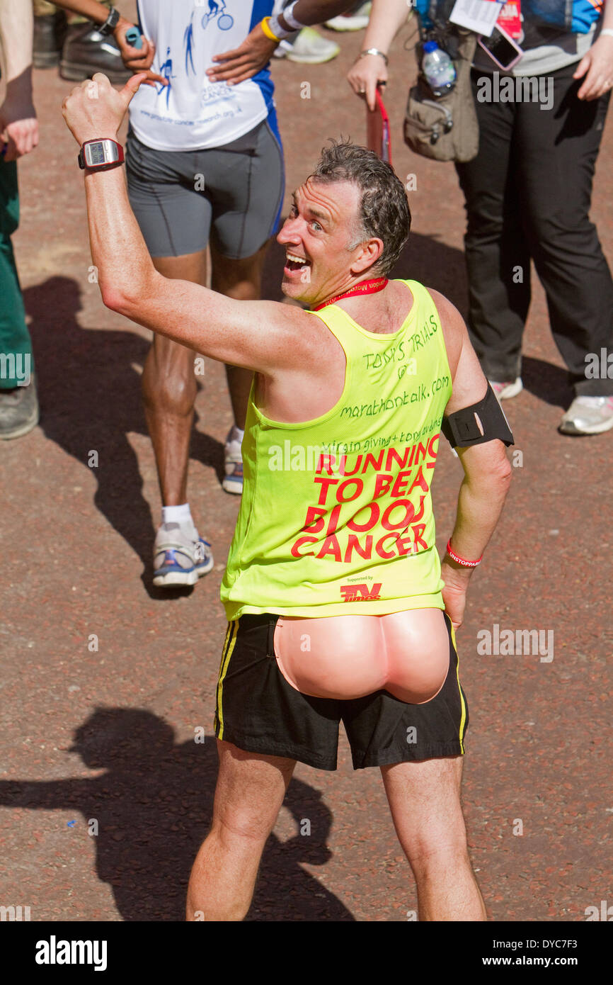 London,UK,13th April 2014,Tony Audenshaw after finishing the London Marathon 201 Credit: Keith Larby/Alamy Live News - Stock Image