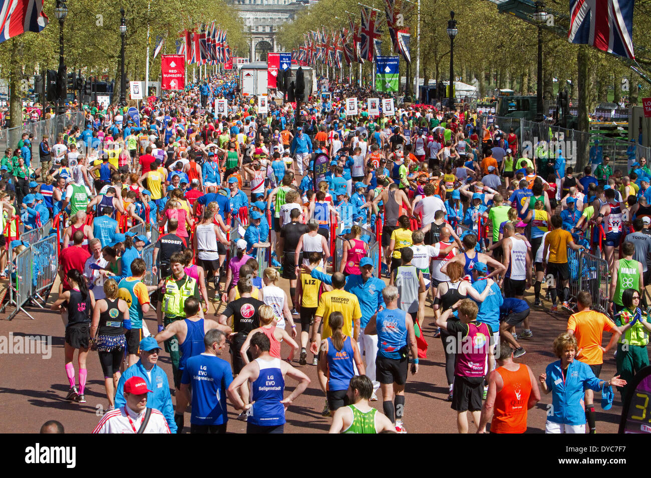 London,UK,13th April 2014,A sea of runners after finishing the London Marathon 201 Credit: Keith Larby/Alamy Live News - Stock Image