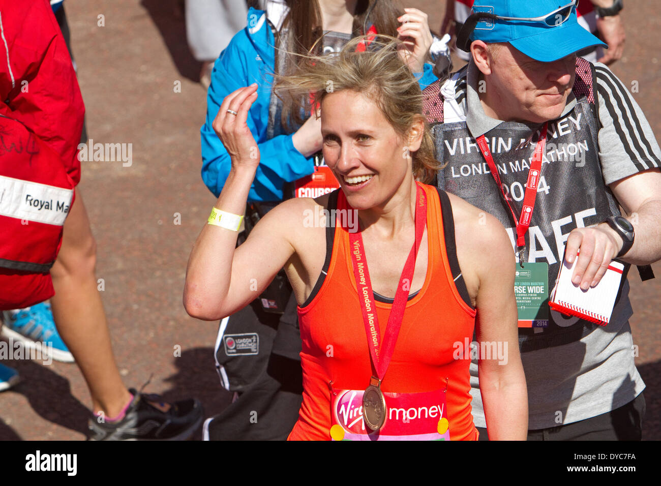 London,UK,13th April 2014,Sophie Raworth after finishing the London Marathon 201 Credit: Keith Larby/Alamy Live News - Stock Image
