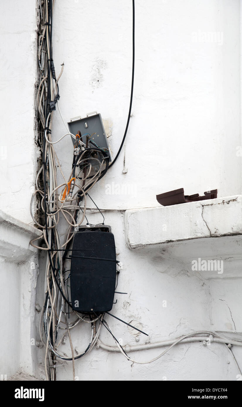 Exposed Wires Stock Photos Images Alamy Uk Electrical Wiring Communications Cables On London Wall Exterior Image