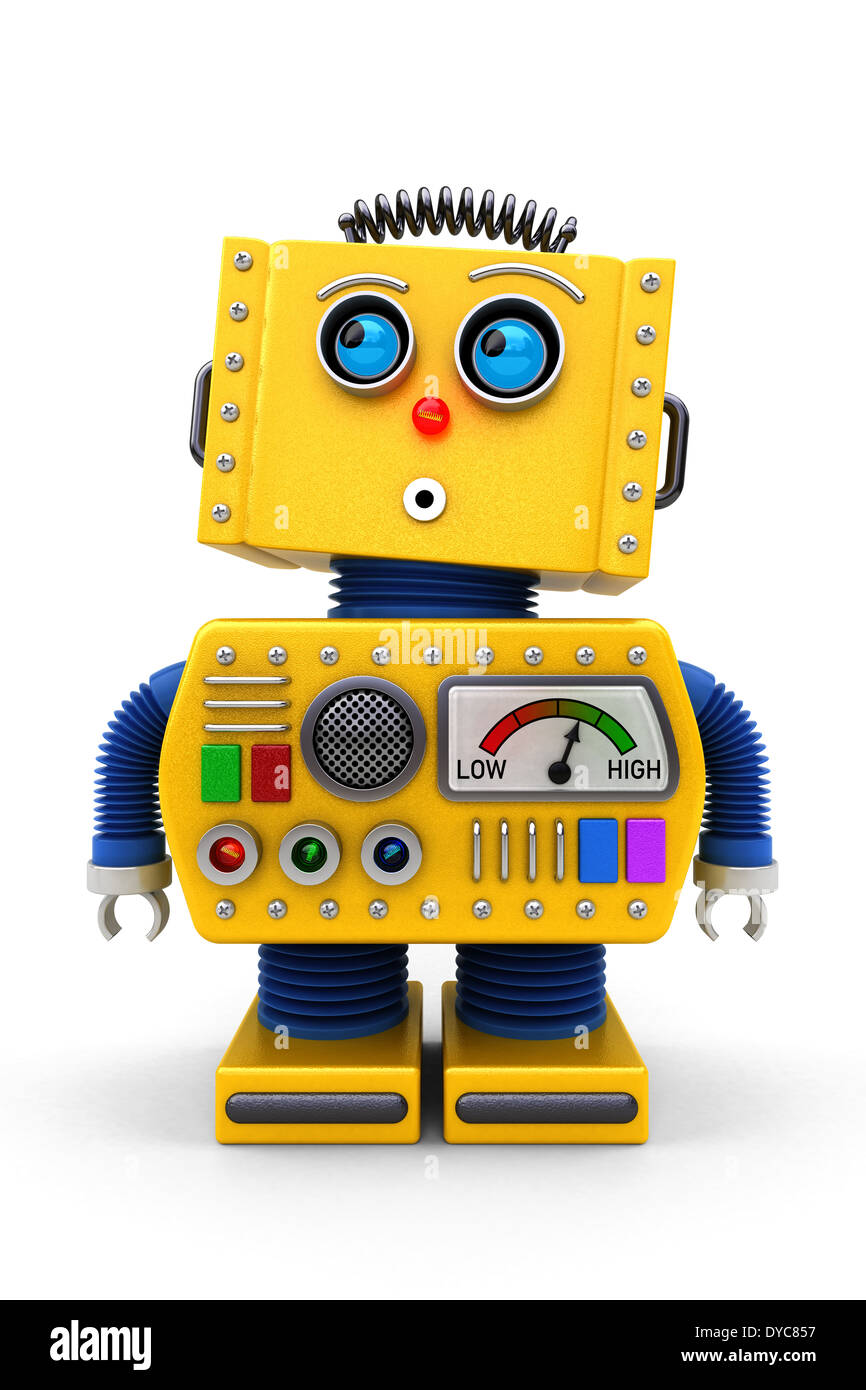 Yellow toy robot is looking surprised - Stock Image