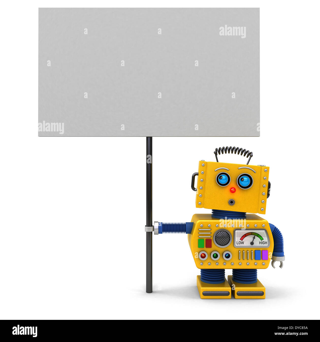 Cute toy robot holding a big sign - Stock Image