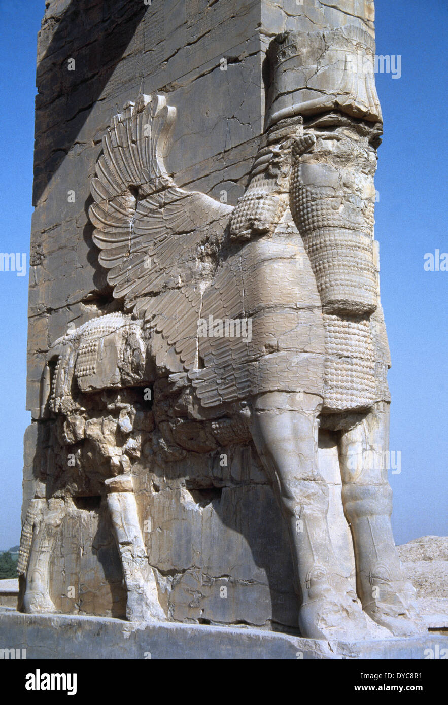 Iran. Persepolis. The Gate of all Nations or Xerxus Gateway. Lamassu. Assyrian protective deity. Bull's body and Stock Photo