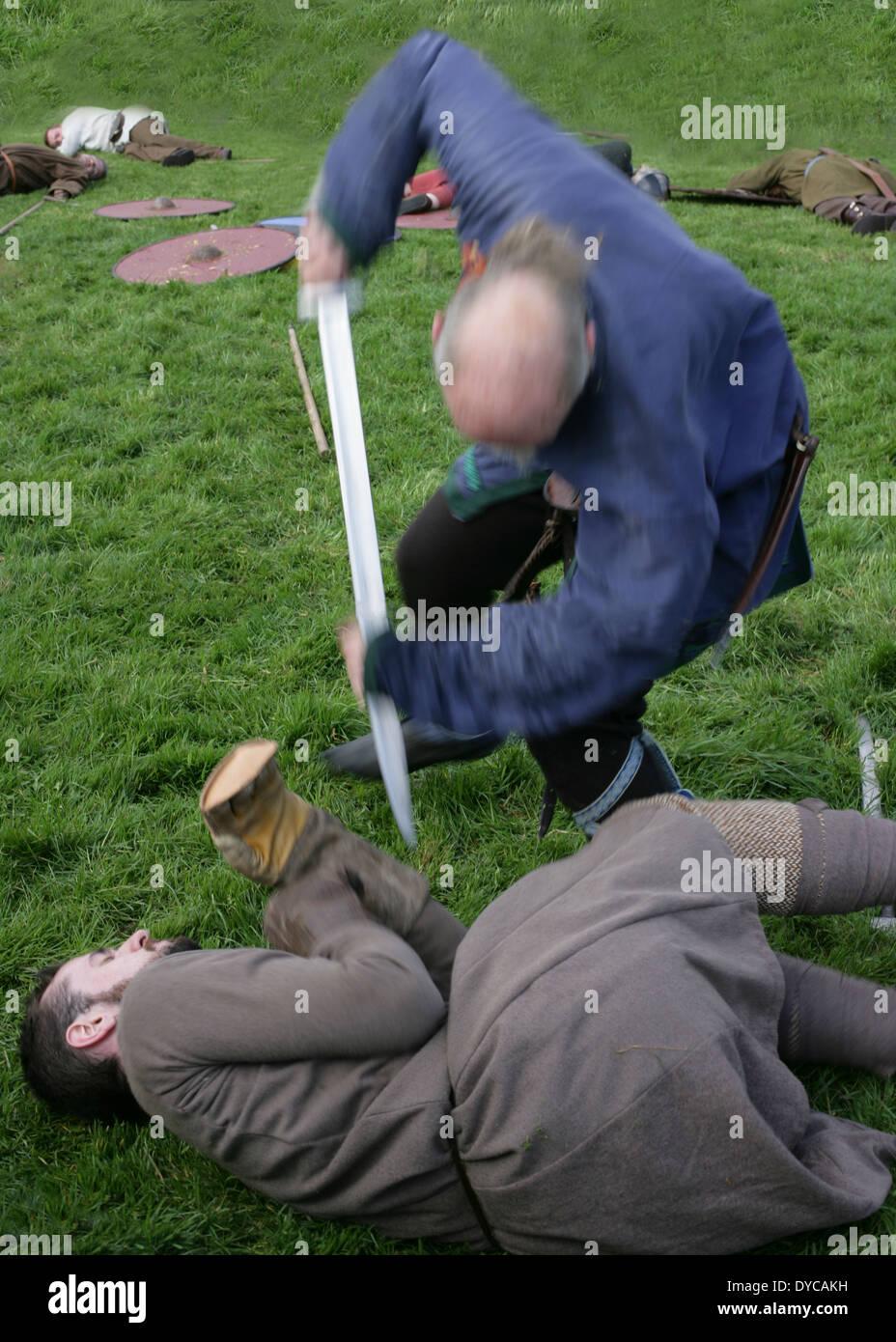 Viking Battle Re-enactment. Killaloe, Ireland - Stock Image