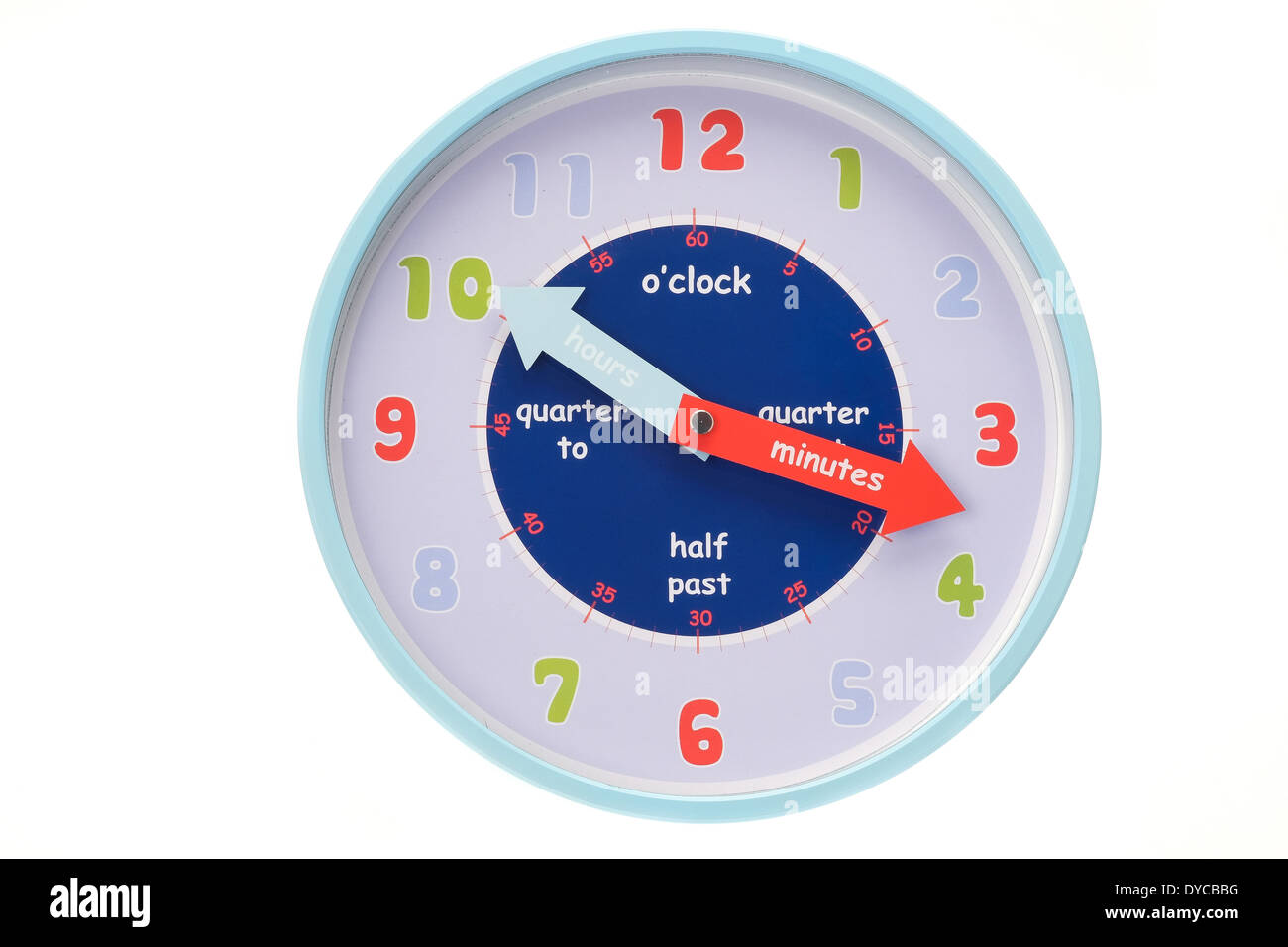 A wall clock that helps to teach children to tell the time. - Stock Image