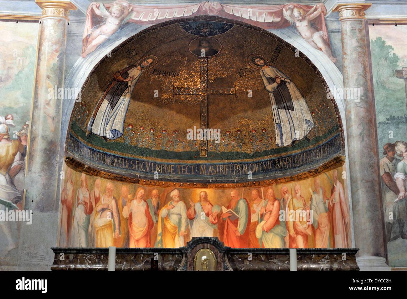 italy, rome, celio, church of santo stefano rotondo, Mosaico dei Santi Primo e Feliciano, early christian mosaic Stock Photo