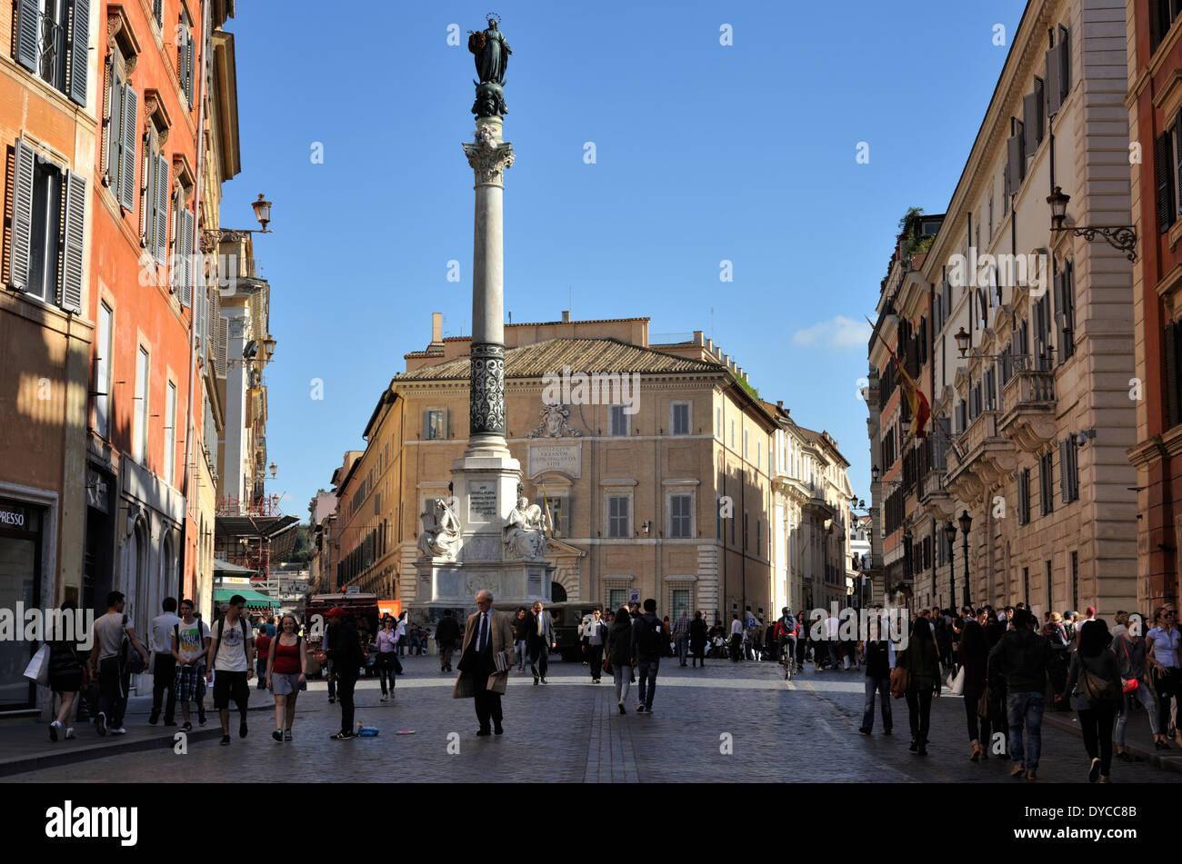 italy, rome, colonna dell'immacolata and palazzo di propaganda fide - Stock Image
