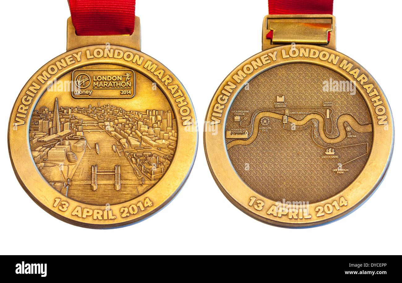 London UK. 14 April 2014 Composite of front (obverse) and back (reverse) of medal awarded to runners who completed the London Virgin Money Marathon 13 April 2014 Credit:  John Henshall/Alamy Live News JMH6124 - Stock Image