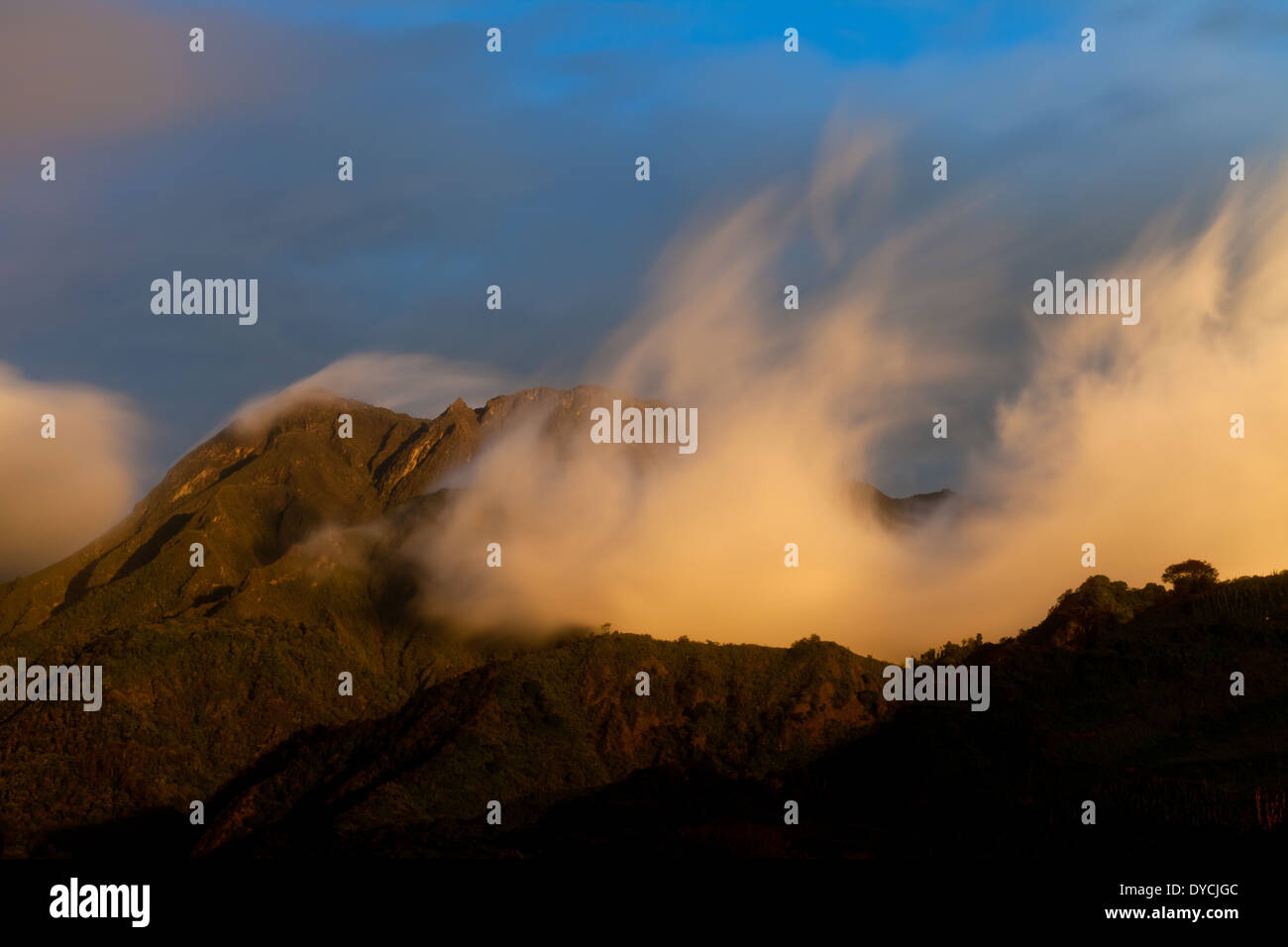 Last light on Volcan Baru, 3475 m, in the Chiriqui province, Republic of Panama. - Stock Image
