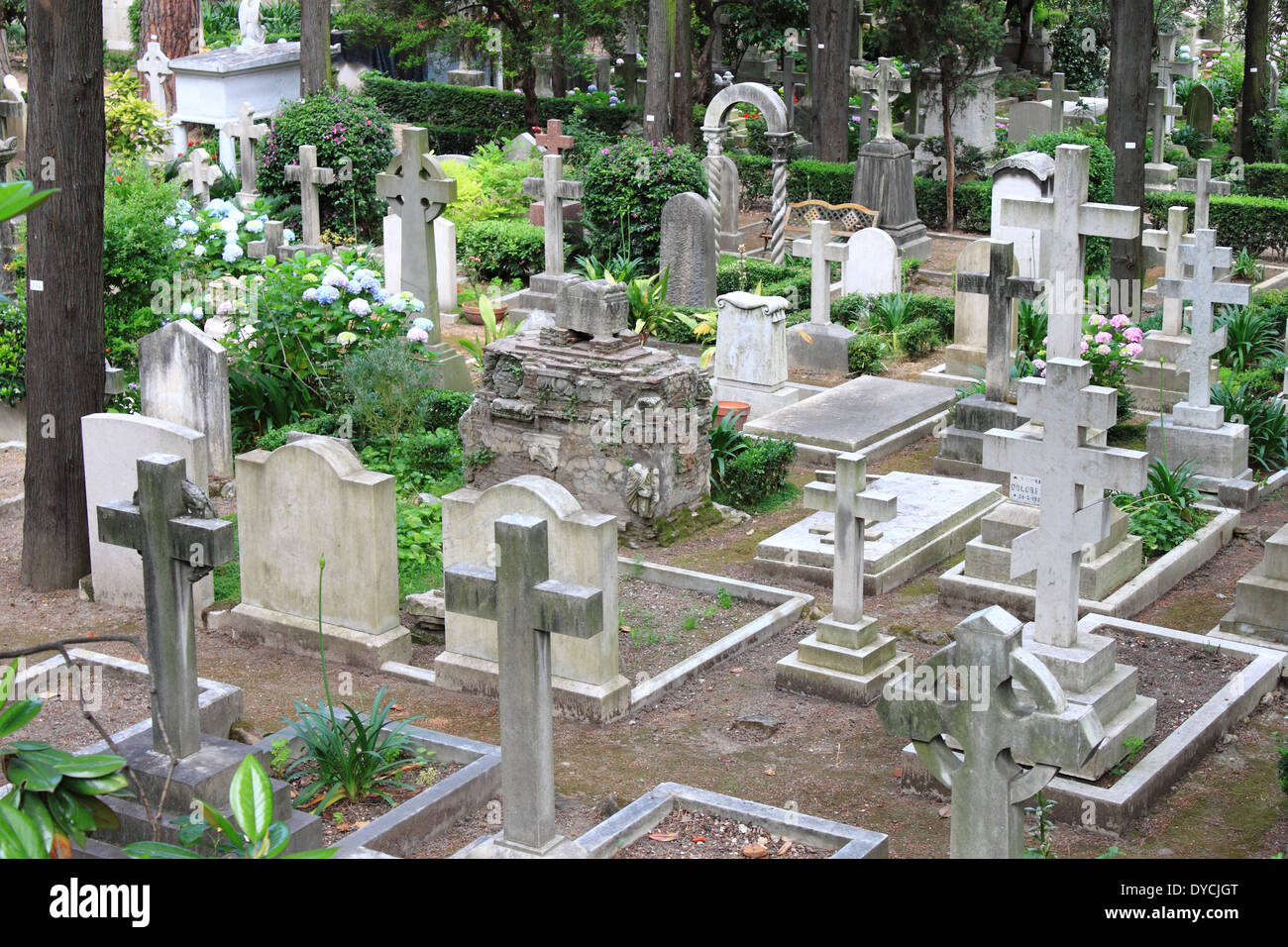 Landscape view of a burying ground - Stock Image