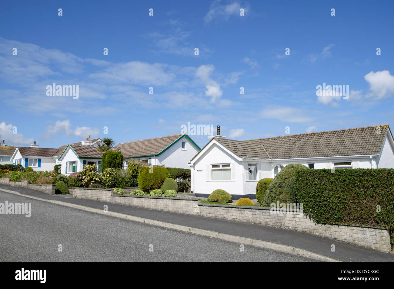 Detached bungalows on a street in popular village location. Benllech, Isle of Anglesey, North Wales, UK, Britain - Stock Image