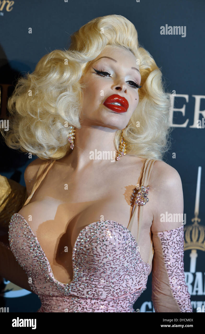 US model, nightlife and fashion icon, performance artist, recording artist and transgender public figure Amanda Lepore arrives for the opening of the first Harald Gloeoeckner store on Georgenstrasse in Berlin, Germany, 14 April 2014. Photo: JENS KALAENE/DPA - Stock Image