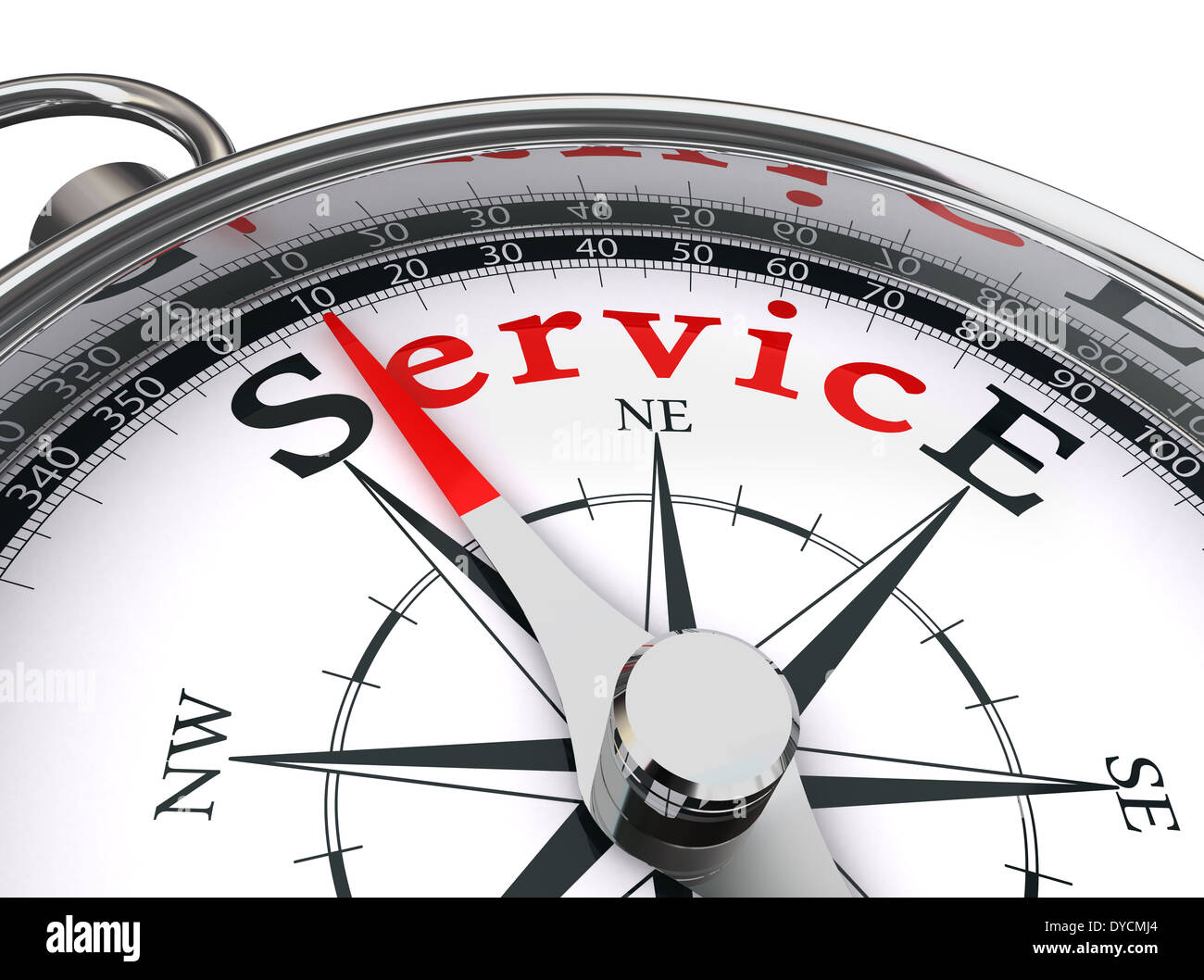 service red word indicated by compass conceptual image on white background - Stock Image