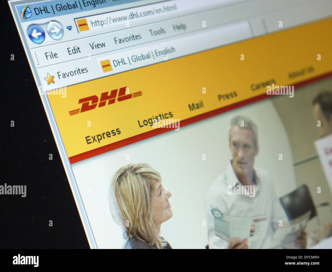 dhl shipping company website - Stock Image