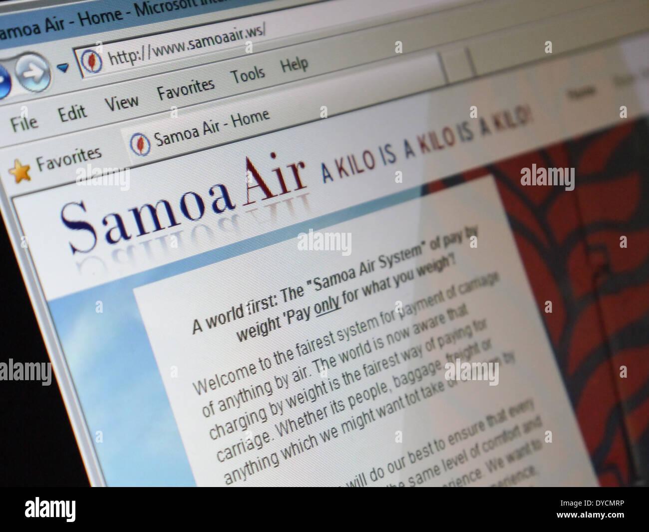 samoa air website - Stock Image