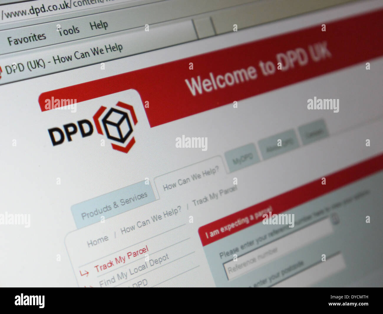 dpd parcel delivery shipping service website - Stock Image