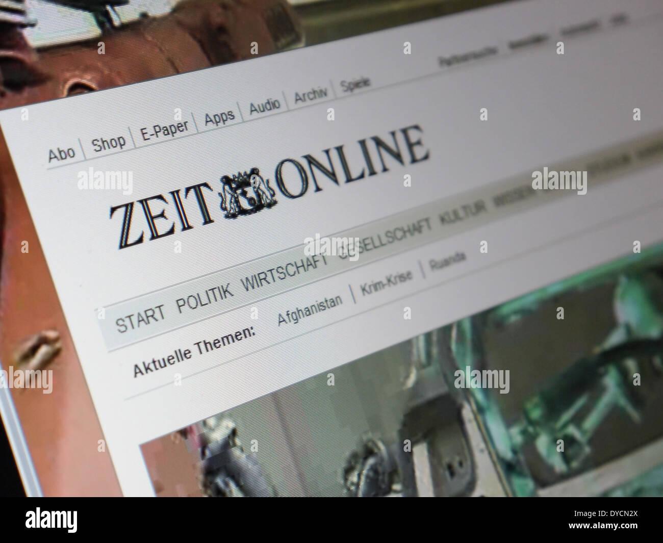 zeit online website - Stock Image