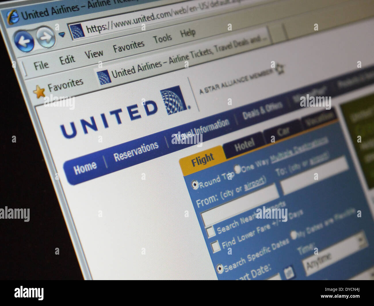 united airline website - Stock Image