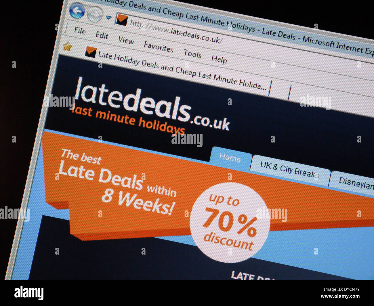 last minute vacation deal website latedeals - Stock Image
