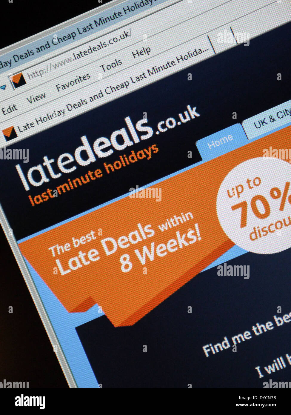 last minute holiday deal website latedeals - Stock Image