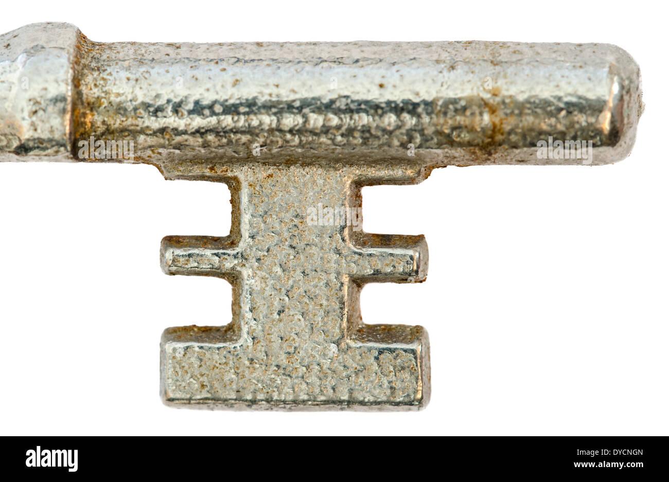 The shoulder, bit and post parts of an old dirty Mortise lock key. - Stock Image