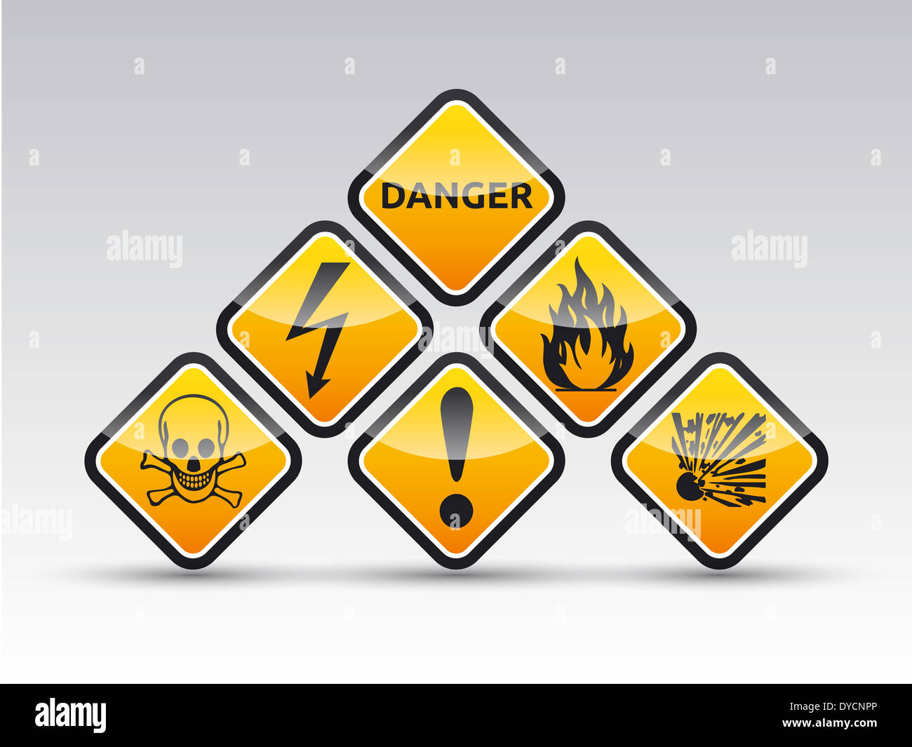 Isolated orange Danger sign collection with black border, reflection and shadow on white background Stock Photo