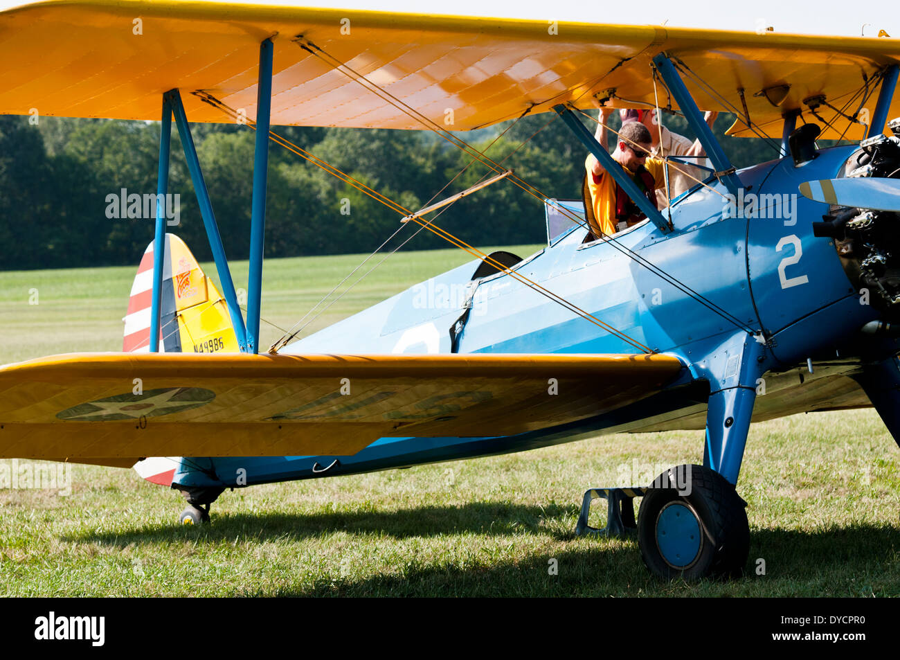 A vintage bi-plane getting ready for take off at an air show in Bealeton, Virginia - Stock Image