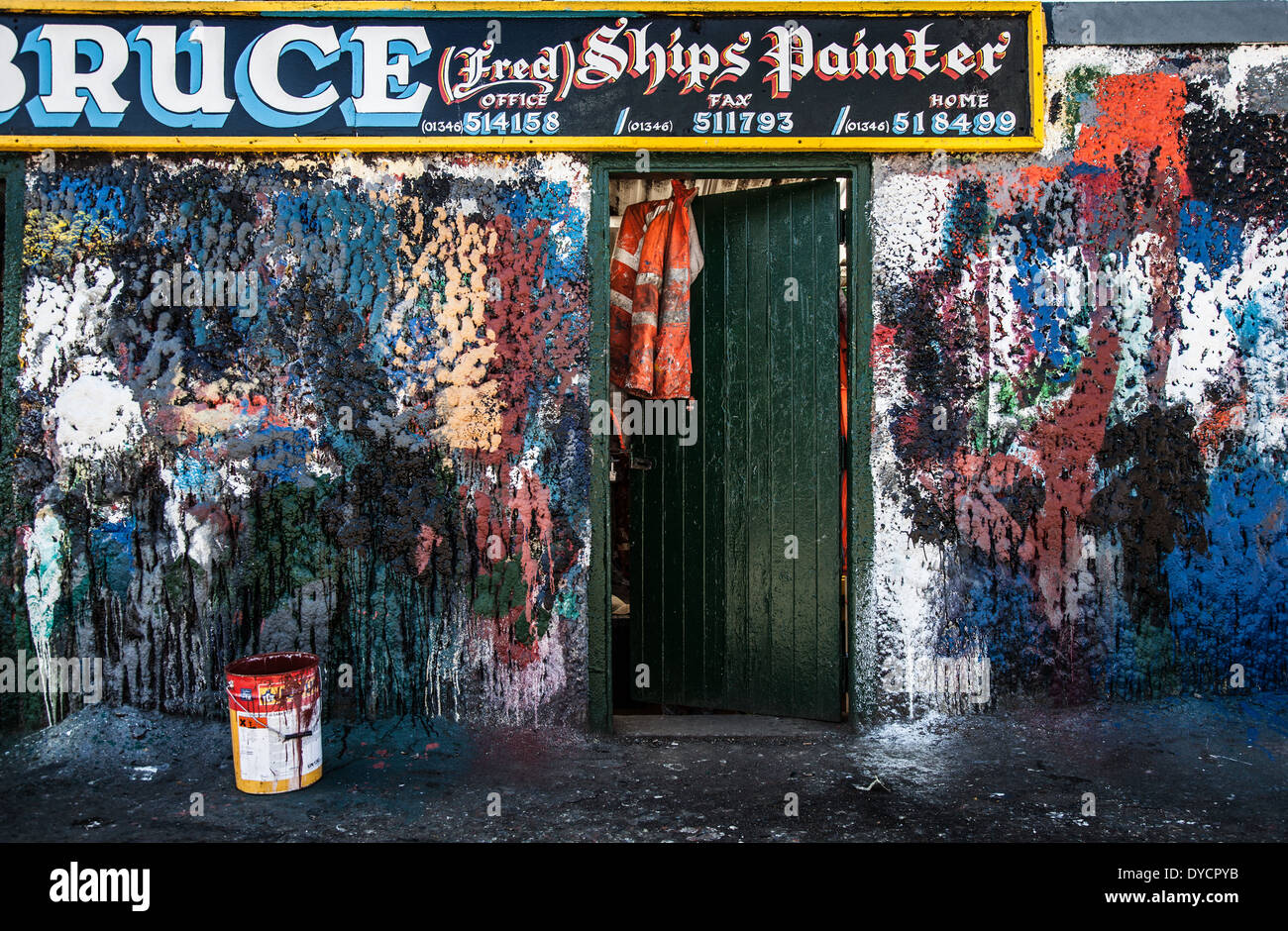 W Bruce Ship Painter's office at the harbour in Fraserburgh, Scotland, UK - Stock Image