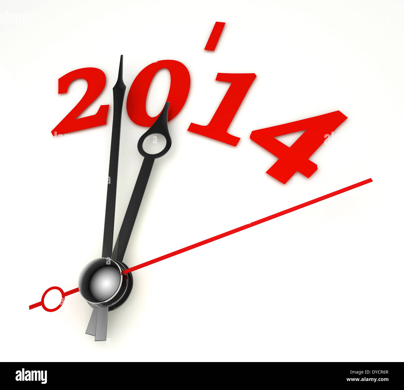 new year 2014 concept clock hands closeup on whte background - Stock Image