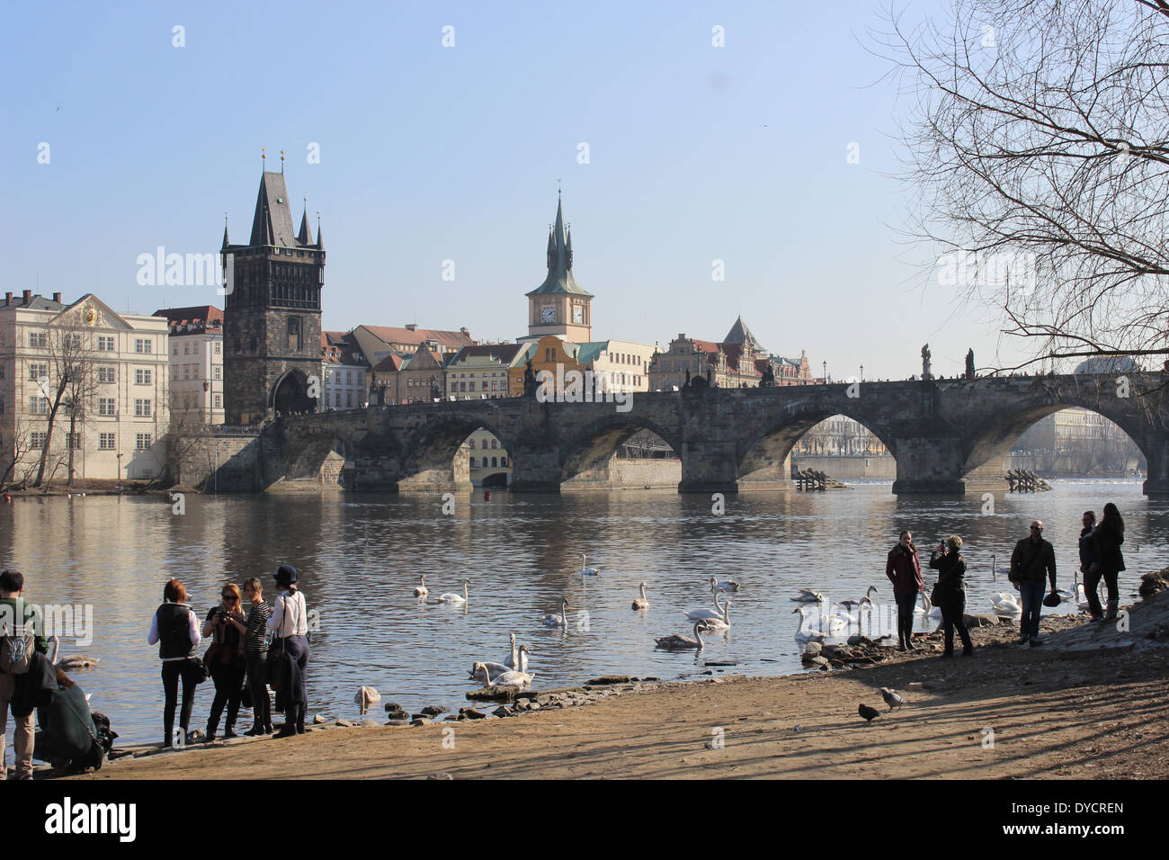 A view of Charles Bridge from the quay near the Kafka Museum Stock Photo