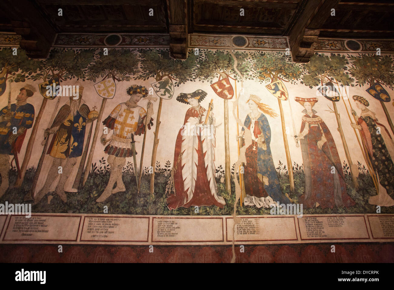baronial hall, frescoes by the master of the manta, castle of the manta, cuneo, langhe, piemonte, italy, europe Stock Photo