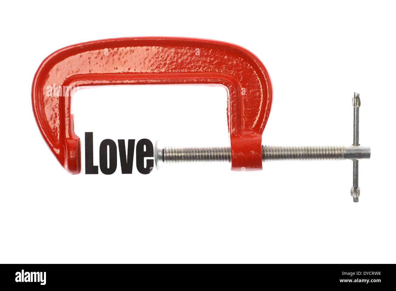 The word 'Love' is compressed with a vice. - Stock Image