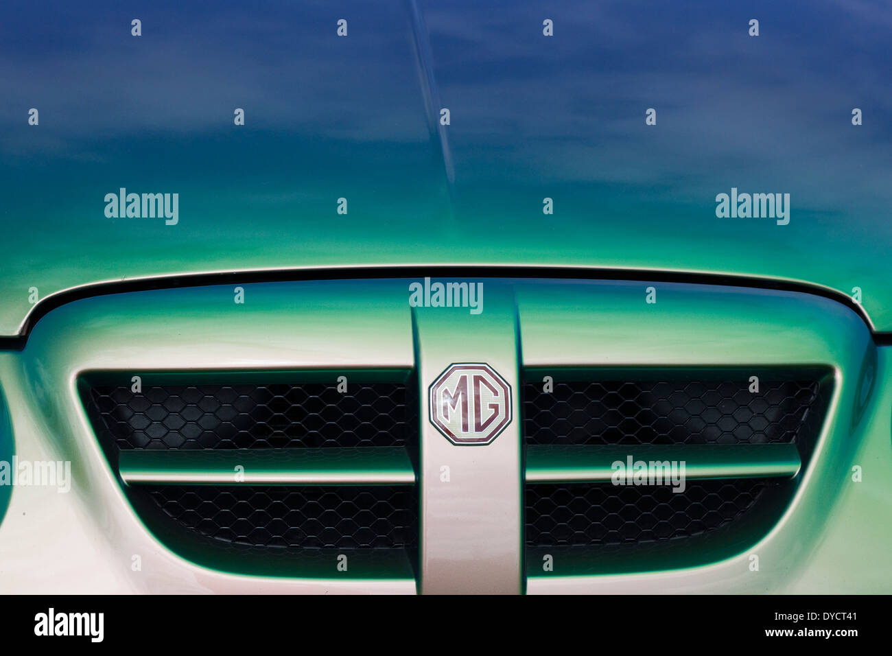 Bonnet of a MG Lifestyle Vehicle car club and Logo - Stock Image