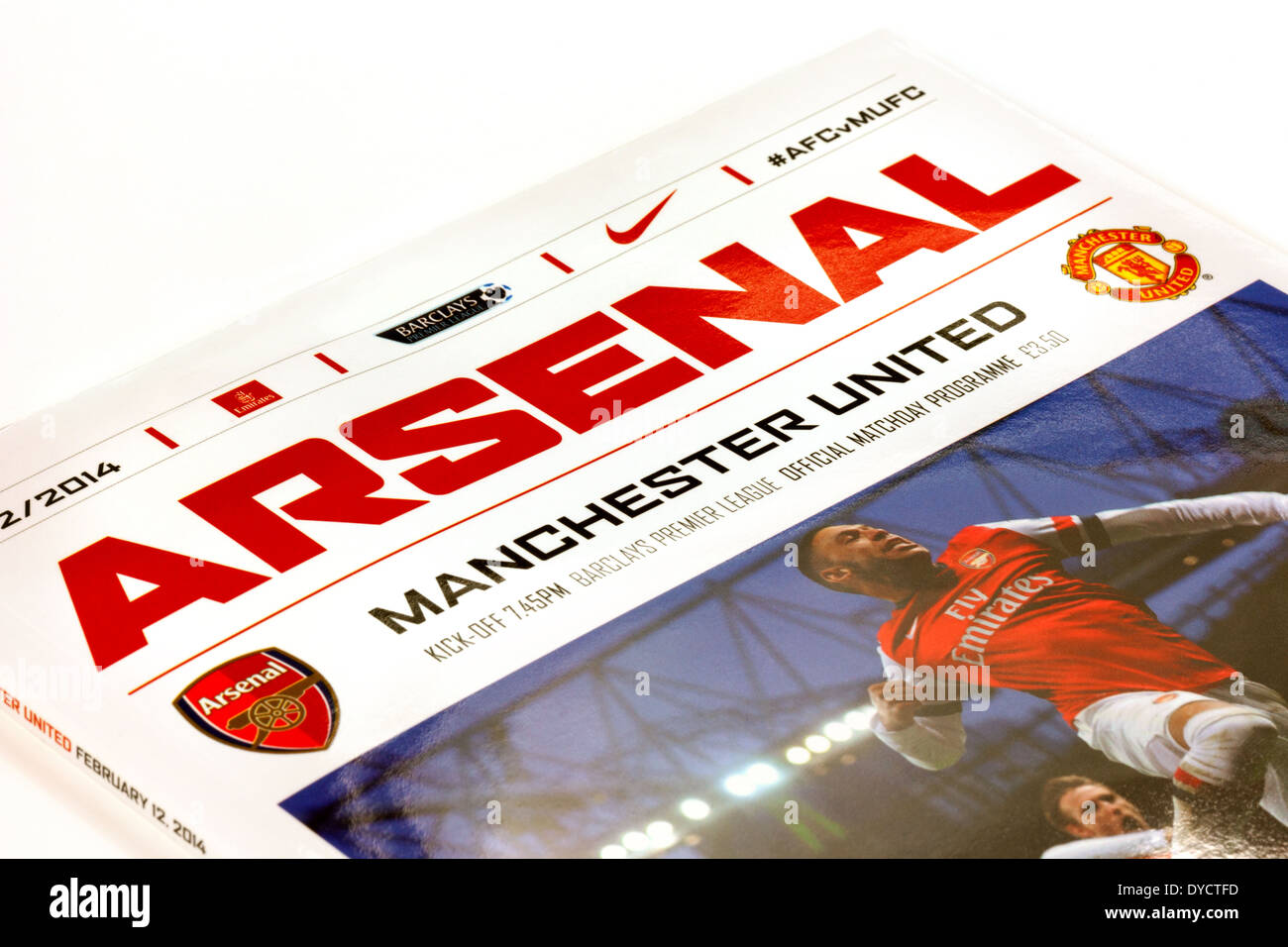 Arsenal vs Manchester United Premier league football match program from the 2013-2014 premiership season, England - Stock Image