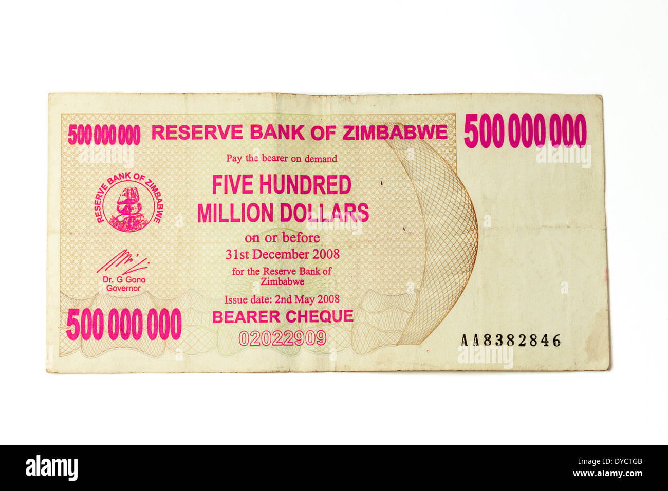 2008 Zimbabwe bank note for 500,000,000 dollars - concept of rampant inflation and poor economy - Stock Image