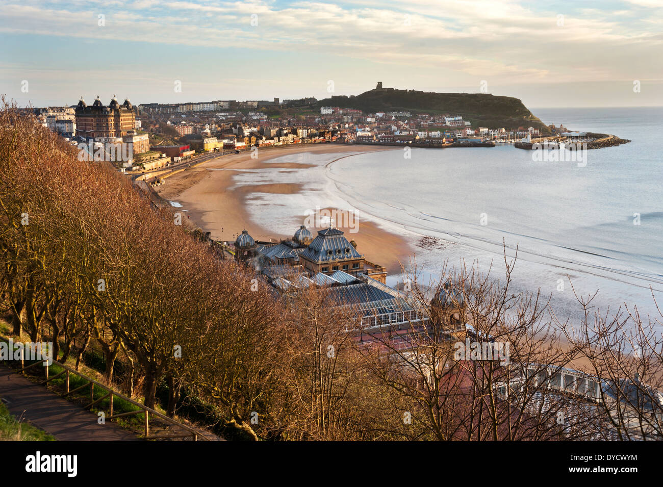 Early morning in Spring over North Bay, showing The Grand Hotel, Spa complex and the Castle, Scarborough, North Yorkshire, UK - Stock Image
