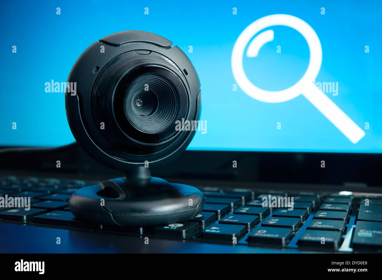 Web surveillance camera. Spying and safety on the Internet - Stock Image