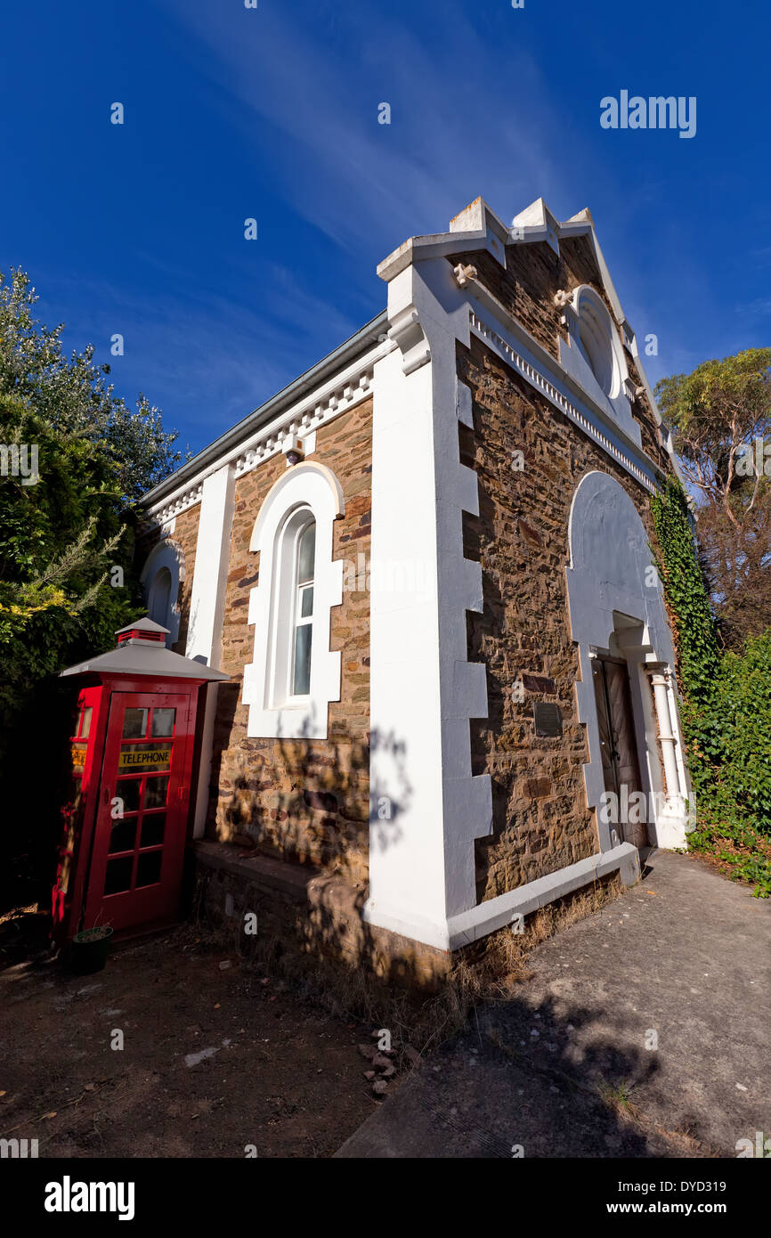 Red telephone booth main street Clarendon old Institute building Adelaide Hills South Australia - Stock Image