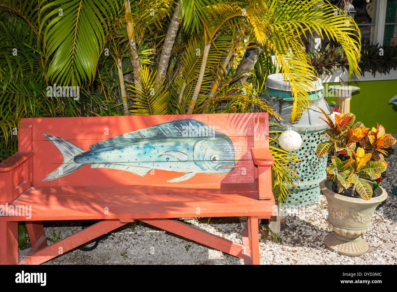 Port Charlotte Florida Harbor Placida Art Market sign Hatch Gallery shopping exterior colorful bench - Stock Image