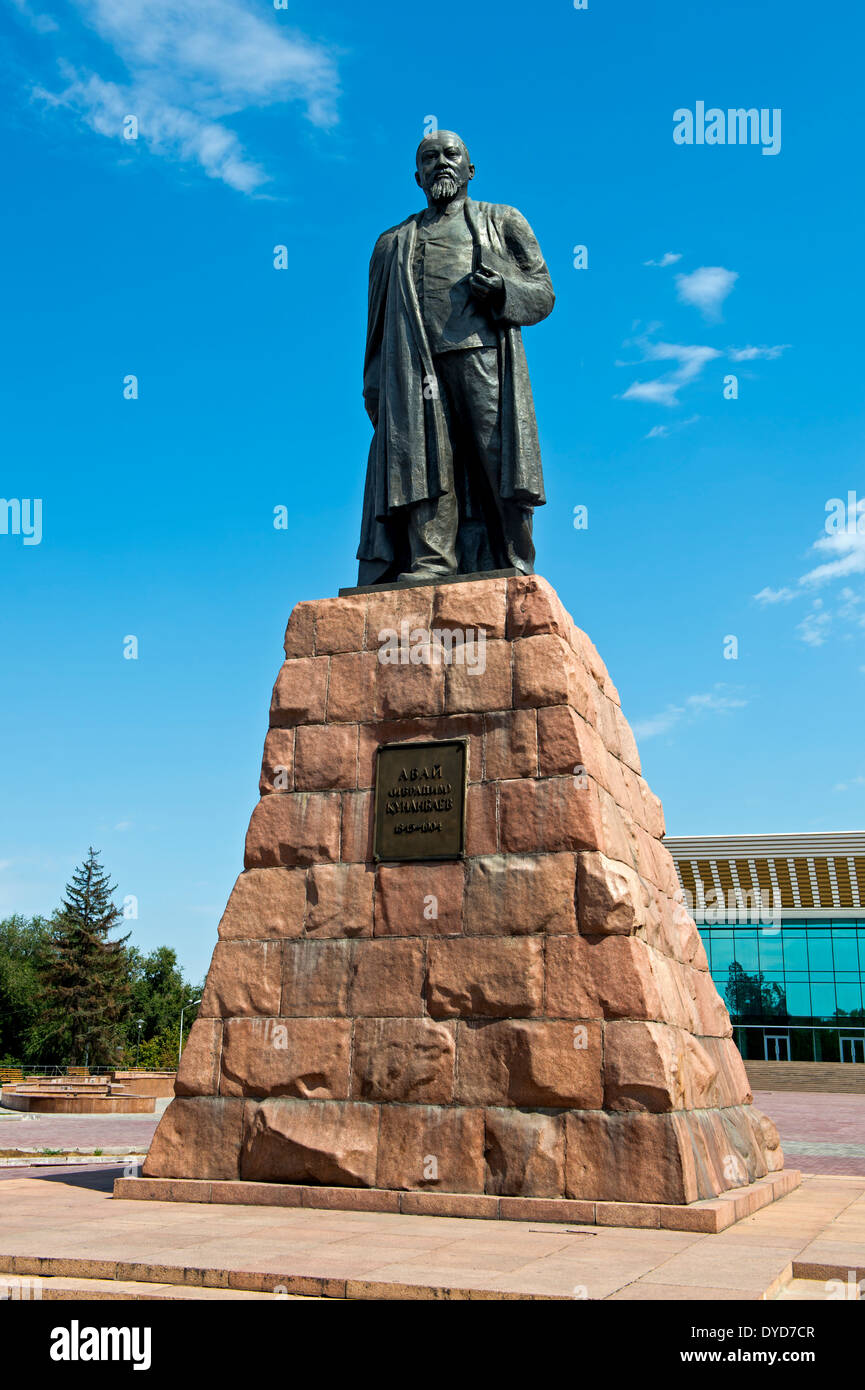 Monument to the poet Abai Kunanbaev, Almaty, Kazakhstan - Stock Image
