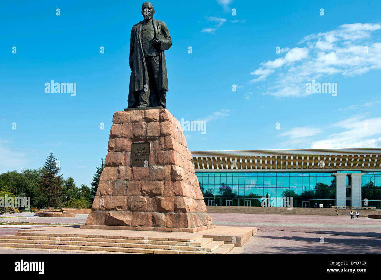 Monument to the poet Abai Kunanbaev in front of the Palace of the Republic, Almaty, Kazakhstan - Stock Image