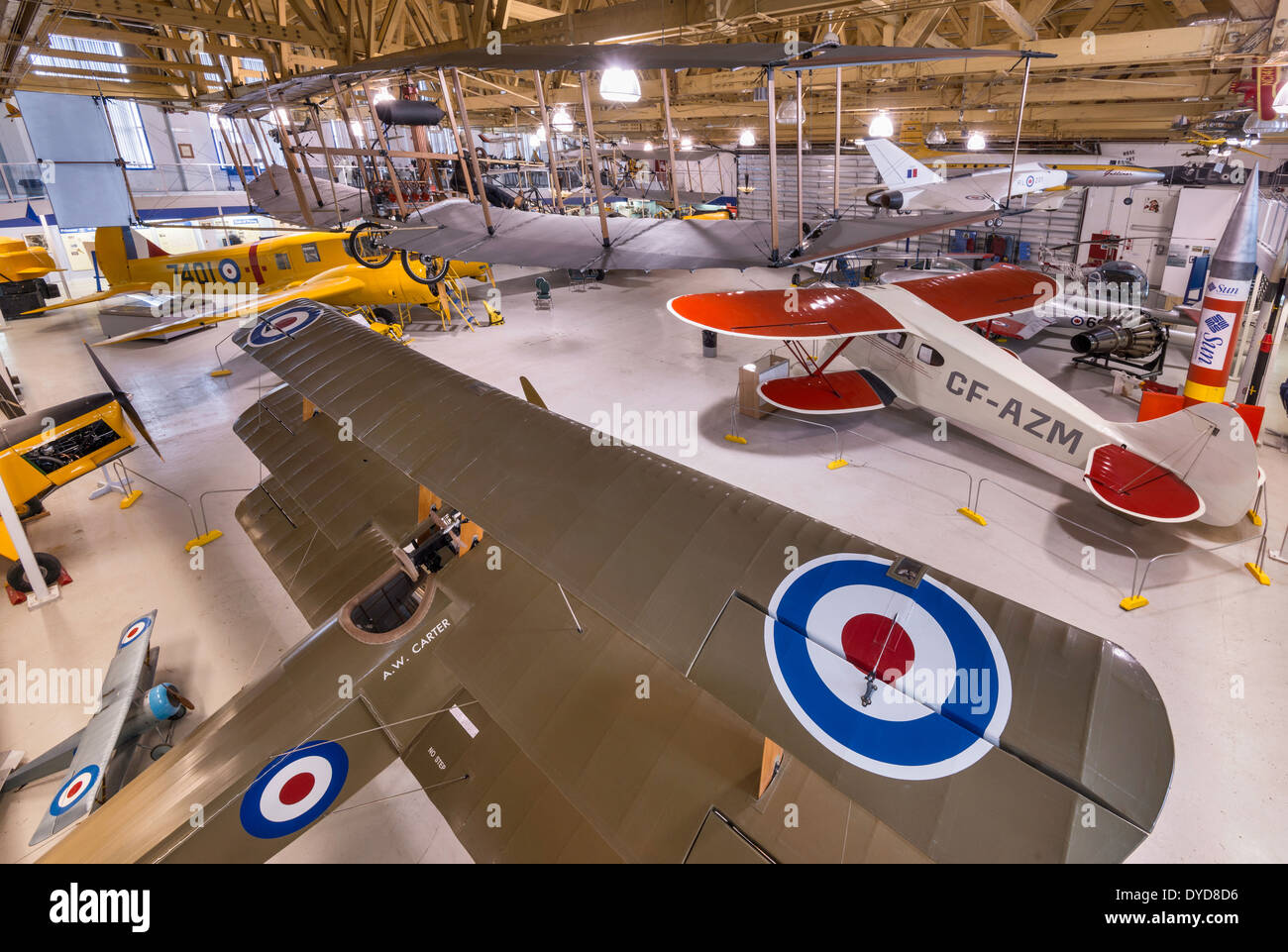 Sopwith Triplane, WW1 fighter replica in foreground at Main Hangar, Aero Space Museum, Calgary, Alberta, Canada - Stock Image