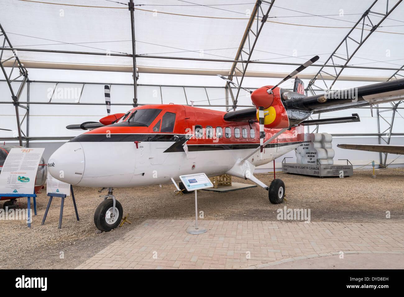 de Havilland Canada DHC-6 Twin Otter utility aircraft, Tent Hangar at Aero Space Museum, Calgary, Alberta, Canada - Stock Image