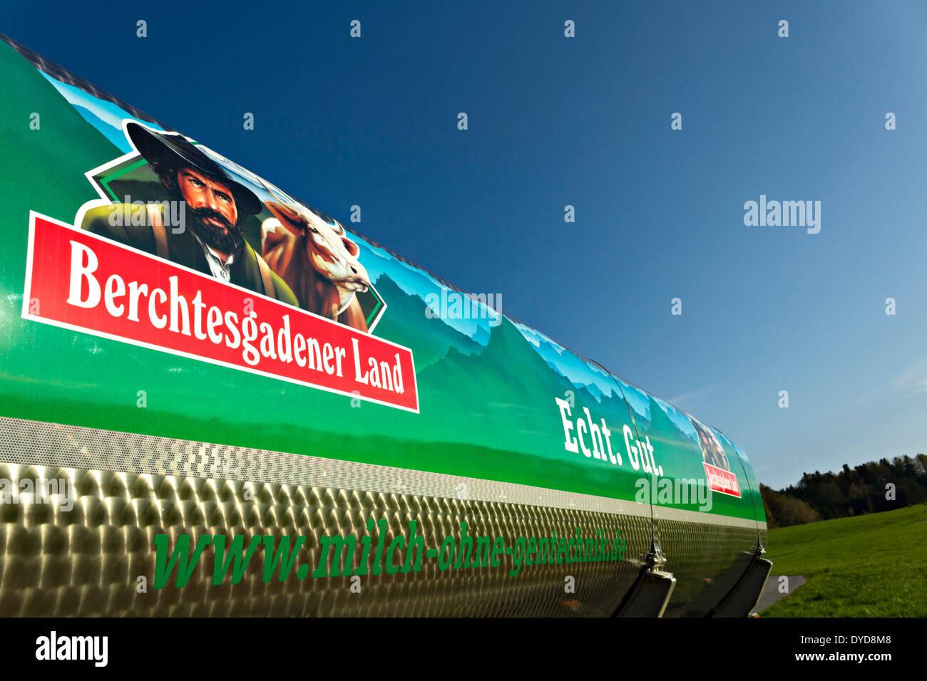 Berchtesgadener Land milk tanker, Upper Bavaria, Germany, Europe. - Stock Image